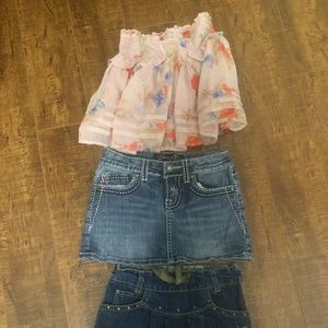 Other - FREE with purchase Girls floral and denim skirts